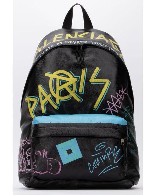Balenciaga Black Explorer Graffiti Backpack for men
