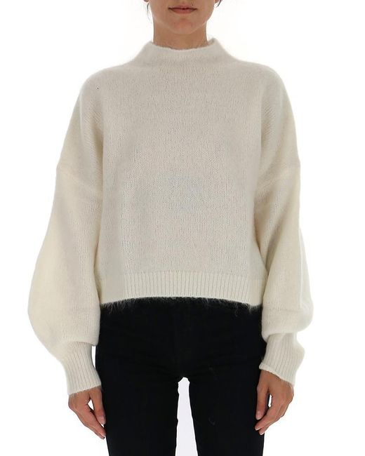 Zimmermann Natural Cropped Relaxed Fit Sweater