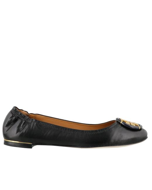 Tory Burch Brown Minnie Travel Leather Ballerina Shoes