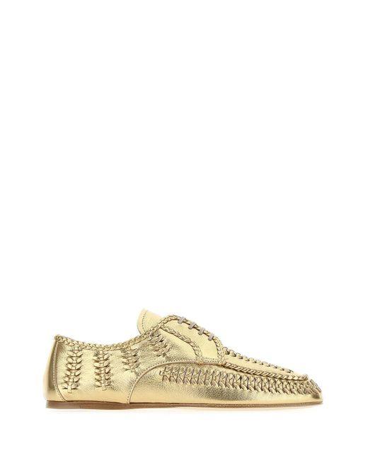 Prada Metallic Lace-up Calf Leather Shoes