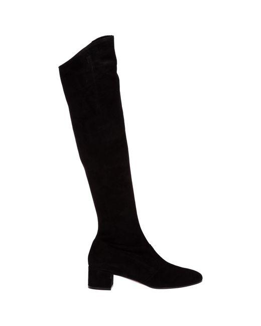 L'Autre Chose Black Block Heel Over The Knee Boots
