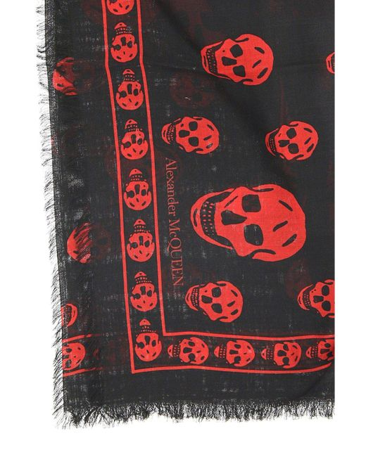 Alexander McQueen Red Skull Scarf for men