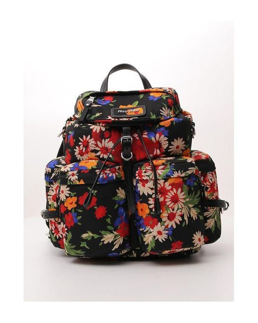 Miu Miu Multicolor Floral Printed Backpack
