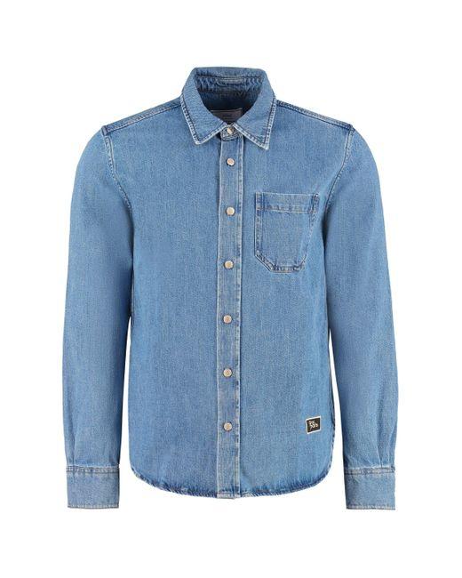 AMI Blue Logo Detail Denim Shirt for men