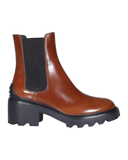 Tod's Brown Heeled Chelsea Boots