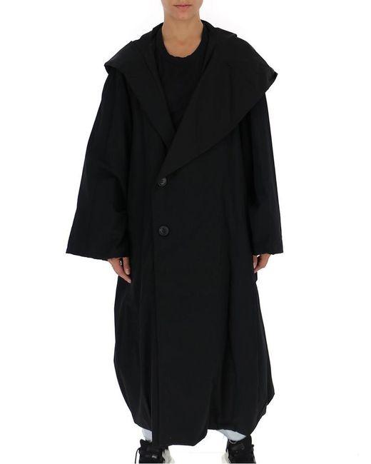 Yohji Yamamoto Black Hooded Buttoned Coat