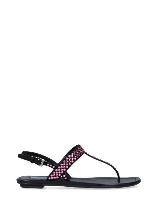 Prada Black Jewel Embellished T-bar Sandals