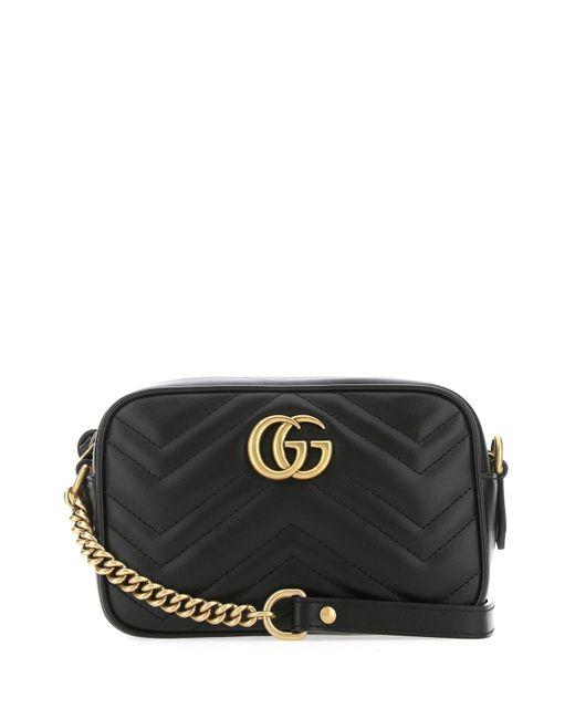 Gucci Black Gg Marmont Matelassã© Shoulder Bag