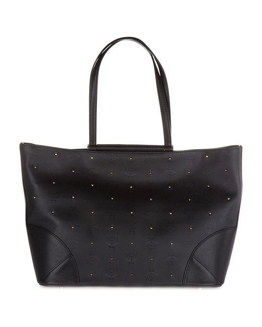MCM - Black Studded Logo Tote Bag - Lyst