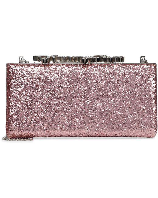 Jimmy Choo Pink Celeste/s Glitter Box Clutch