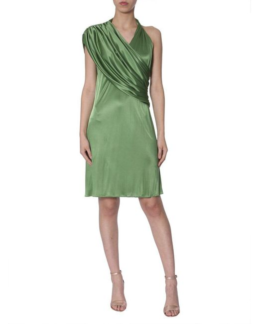 Lanvin Green Draped Neckline Dress