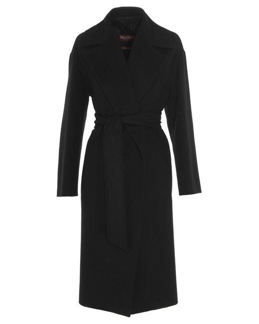 Max Mara Studio Black Belted Wrap Coat