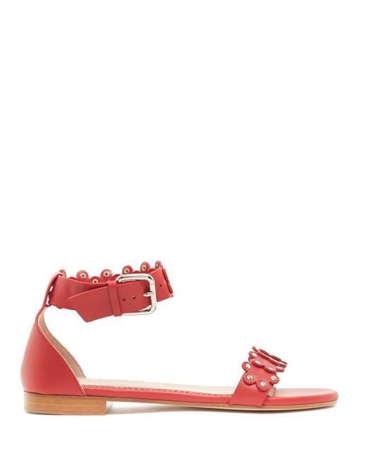 RED Valentino - Red Floral Appliques Ankle Strap Sandals - Lyst