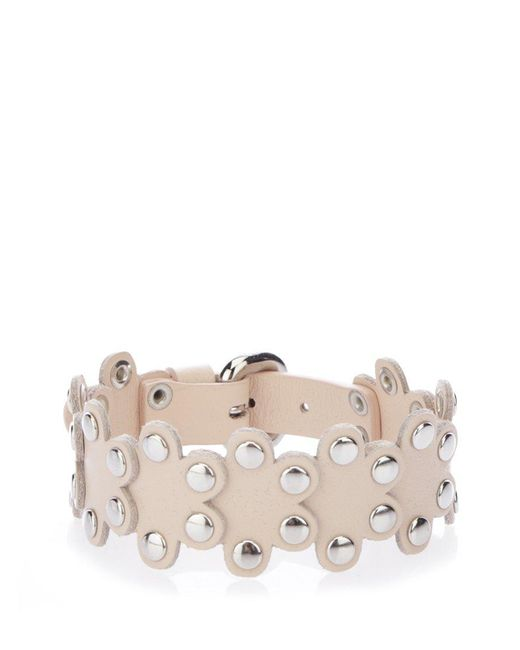 RED Valentino - Pink Studded Leather Flower Puzzle Bracelet - Lyst