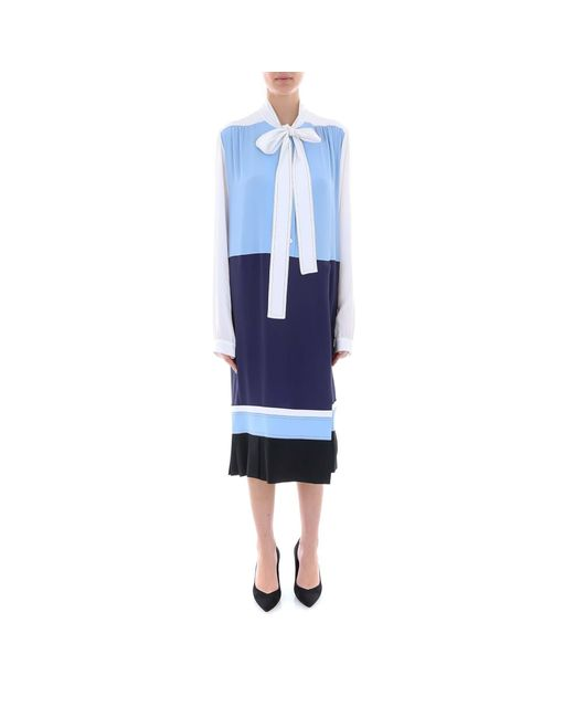 Marni Blue Pussybow Contrasting Panelled Shift Dress