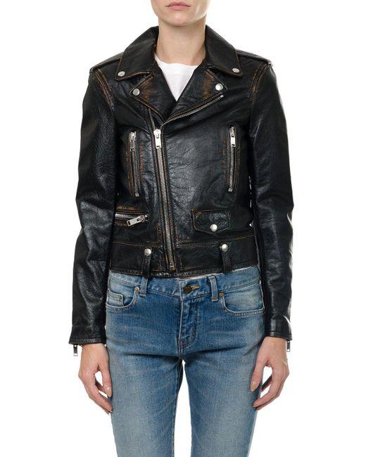 Saint Laurent - Black Biker Jacket - Lyst