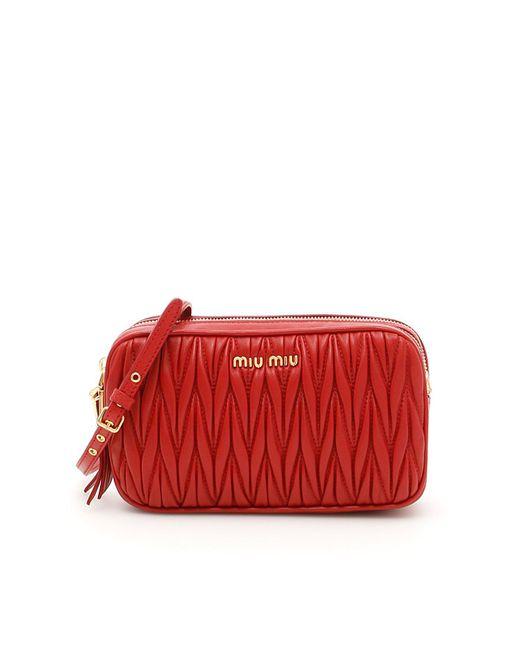 Miu Miu - Red Matalassé Leather Crossbody Bag - Lyst