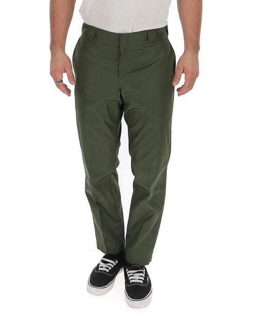 Prada Green Logo Plaque Gabardine Trousers for men