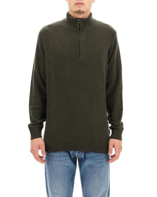 Barbour Green High-neck Knit Sweater for men