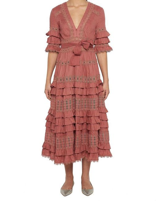 Zimmermann - Pink Frill Tiered Dress - Lyst