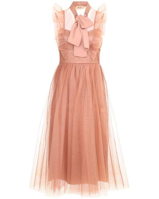 Lyst Sleeveless Bow No21 Midi Dress Pussy In N°21 Pink rdhsQtC