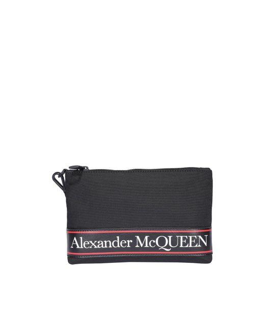 Alexander McQueen Black Flat Lettering Logo Printed Clutch for men