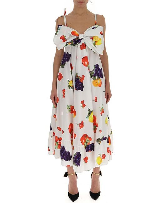 MSGM Multicolor Fruit Print Bow Flared Dress