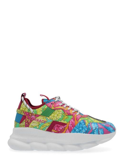 Versace Multicolor Chain Reaction Baroque Print Leather Trainers for men