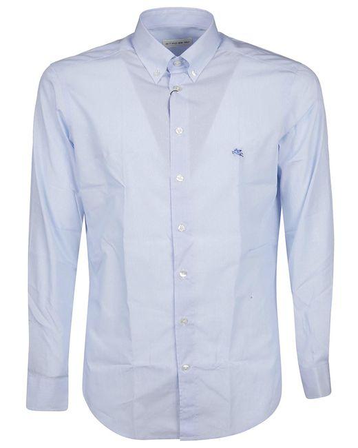 Etro Blue Buttoned Long-sleeve Shirt for men