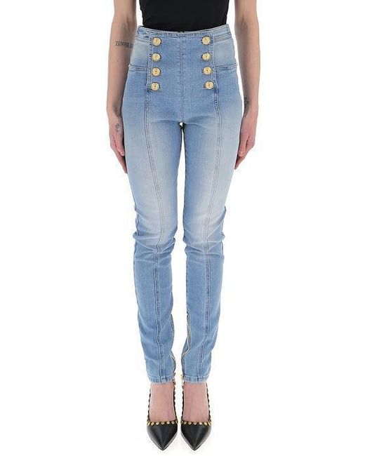 Balmain - Blue Double Buttoned High Waisted Jeans - Lyst