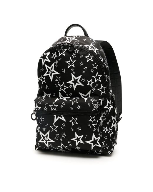 Dolce & Gabbana Black Mixed Star Print Vulcano Backpack In Nylon for men