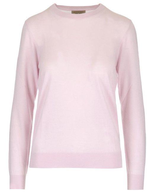 1ce428d9145 Lyst - Burberry Elbow Patch Sweater in Pink