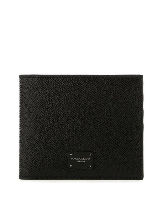 Dolce & Gabbana Black Logo Plaque Bifold Wallet for men