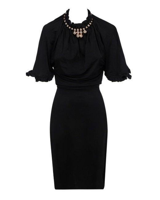 Paco Rabanne Black Embellished Ruffled Hem Dress