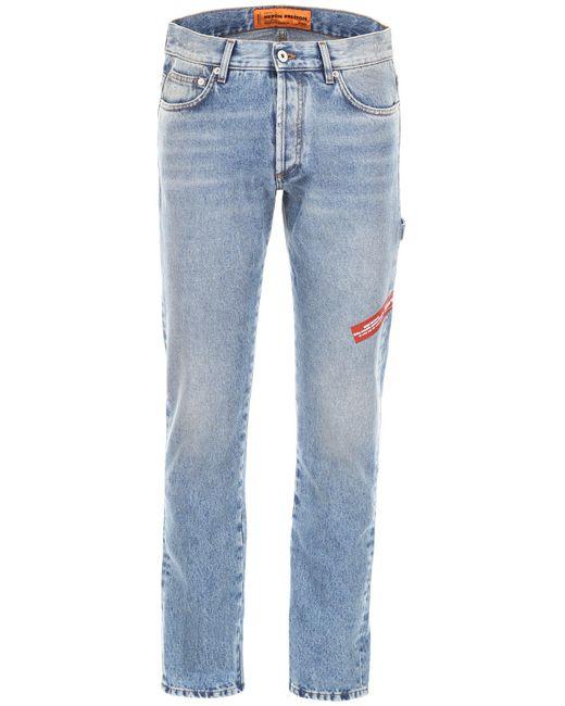 Heron Preston Blue Logo Embroidered Straight-leg Jeans for men