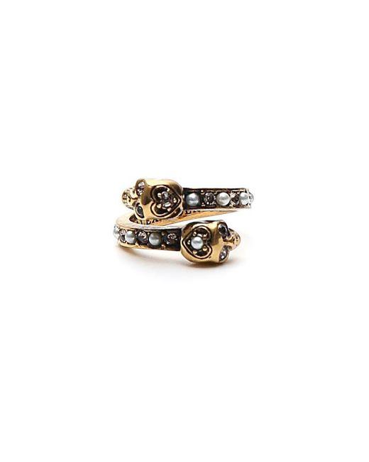 Alexander McQueen - Metallic Pearl Embellished Skull Ring - Lyst