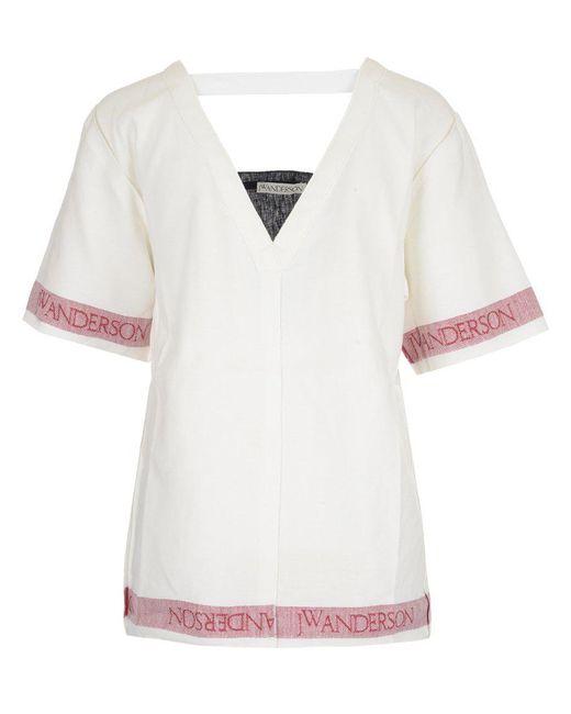 J.W. Anderson - White V-neck Linen Top - Lyst