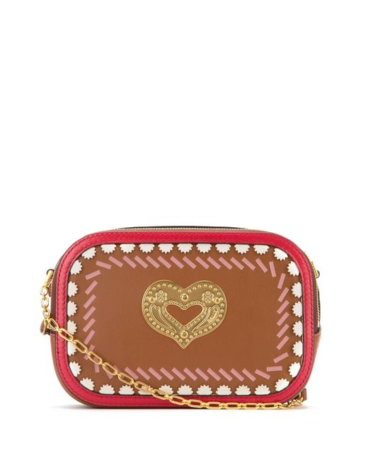 Bally Brown Swirl Heart Detail Crossbody Bag