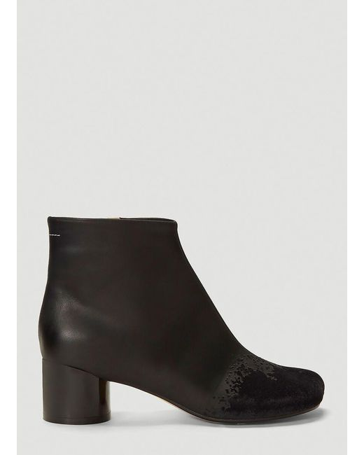MM6 by Maison Martin Margiela Black Flocked Velvet Ankle Boots