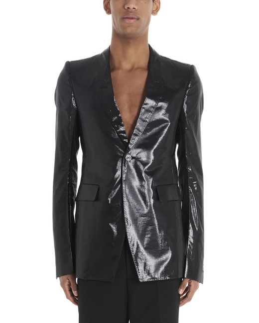 Rick Owens Black Lacquered-effect Tailored Blazer for men