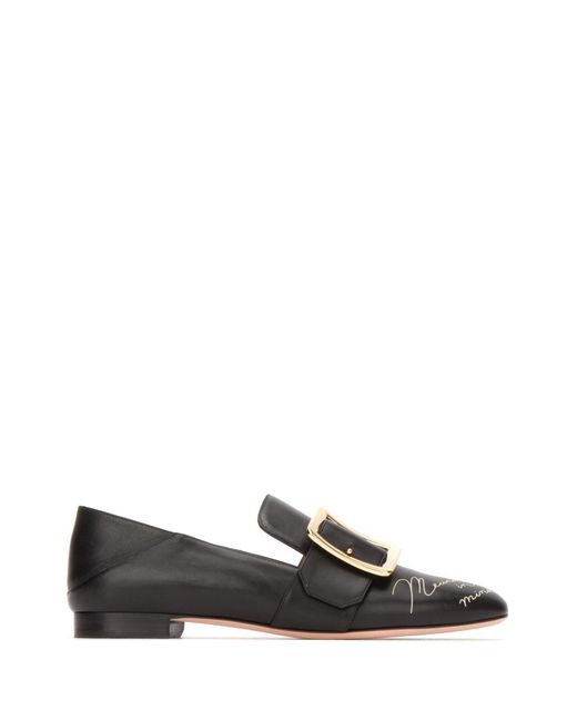 Bally Black Janelle Buckle Loafers