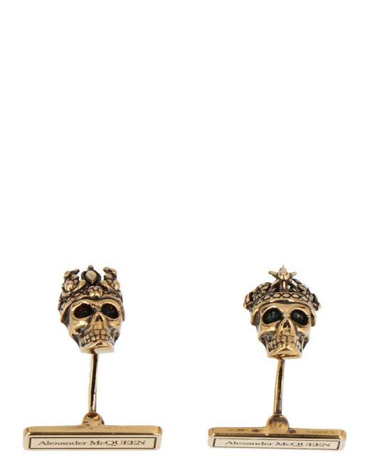 Alexander McQueen Metallic Skull Cufflinks for men