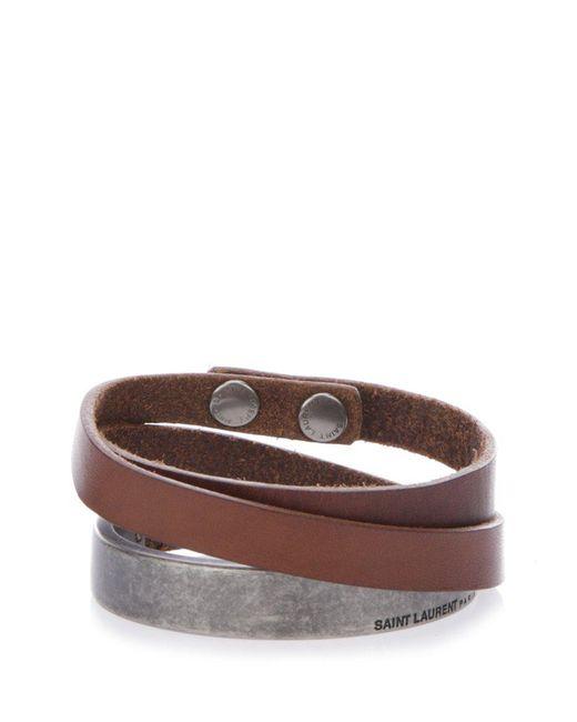 Saint Laurent - Brown Plaque Leather Wrap Bracelet for Men - Lyst