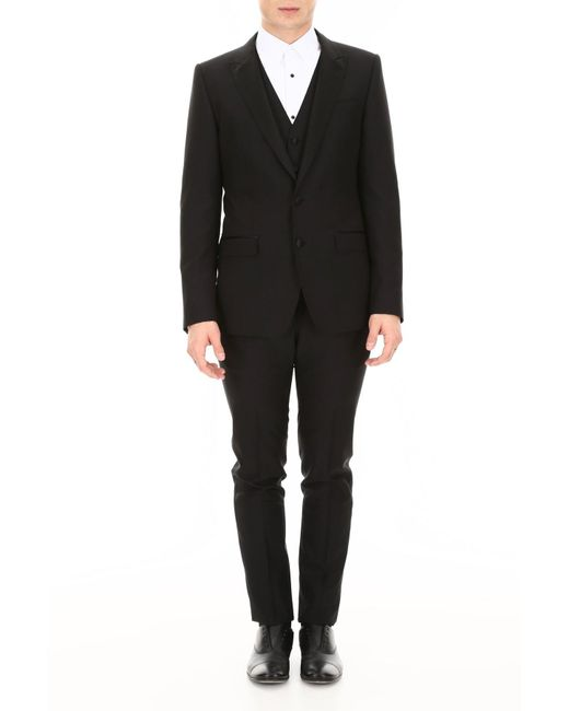 Dolce & Gabbana Black Three-piece Suit for men