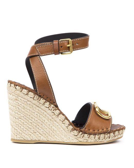 Valentino Brown Valentino Garavani Vlogo Wedge Sandals