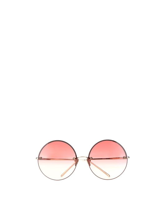 Linda Farrow Metallic Round Frame Sunglasses