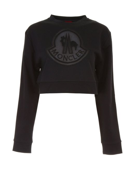 d2e9c058addd Lyst - Moncler Gamme Rouge Cropped Sweater in Black