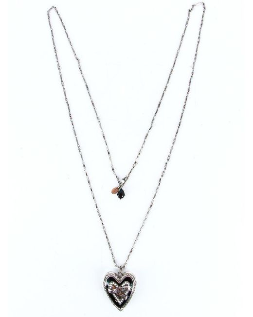 Alexander McQueen Metallic Double Layered Heart Necklace