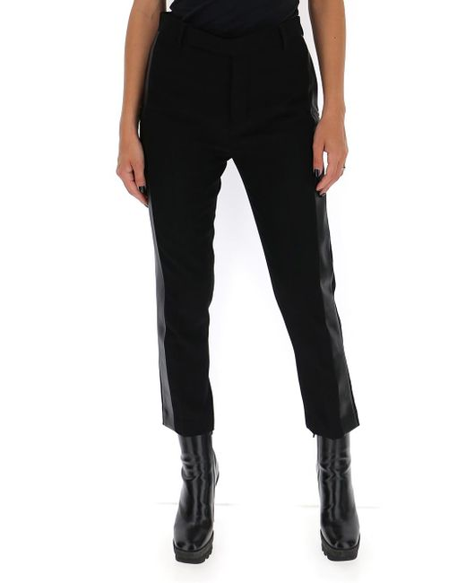 Rick Owens Black Side Panel Cropped Trousers
