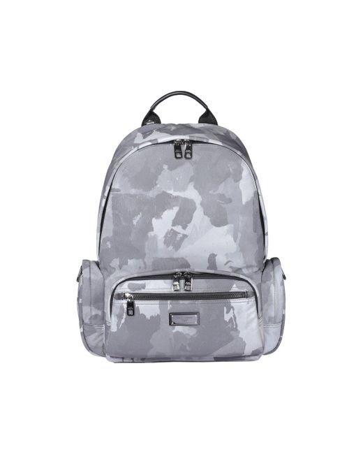 Dolce & Gabbana Gray Camouflage Print Backpack for men